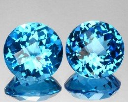 ~PAIR~ 7.04 Cts Natural Sky Blue Topaz 9.0 mm Round Checkerboard Brazil