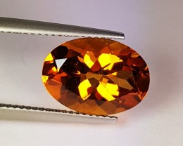5.33 ct Excellent Gem Golden Whiskey Oval Cut Natural Citrine