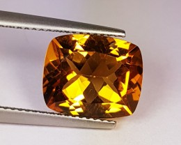 4.95 ct Marvelous Golden Whiskey Cushion Cut Natural Citrine