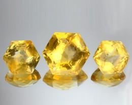 9.62 Cts Natural Yellow Citrine Fancy Cut Brazil 3Pcs Set