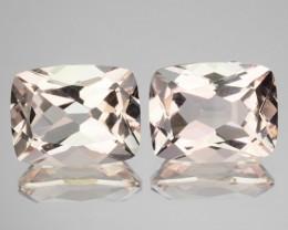 ~PAIR~ 4.11 Cts Natural Light Pink Morganite Cushion Cut Brazil