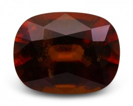 4.29 ct Cushion Hessonite Garnet - $1 No Reserve Auction, Free Shipping