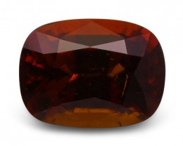 4.39 ct Cushion Hessonite Garnet - $1 No Reserve Auction