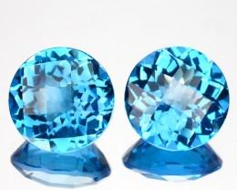 ~PAIR~ 6.48 Cts Natural Swiss Blue Topaz Round Checkerboard Cut Brazil