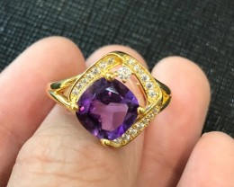 22.25cts Purple Amethyst 925 Sterling Silver Ring US 9.25