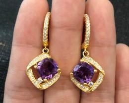 42.54cts Purple Amethyst 925 Sterling Silver Earrings