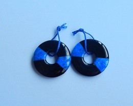 64.5ct Natural lapis lazuli and obsidian gemstone intarsia round  Earring P