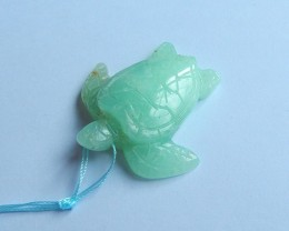 87ct Natural chrysoprase gemstone carved turtle pendant side drilled green