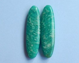 35.5ct Natural green amazonite  cabochon Pair without hole (18091216)