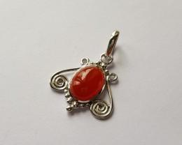 Carnelian 925 Sterling silver pendant #34137