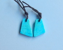5.5ct Natural Blue sleepy turquoise nugget shape  Earring Pair(18091223)