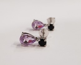 Amethyst, Citrine 925 Sterling silver earrings with black onyx stud #7818