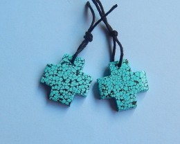 19ct Natural blue turquoise cross shape  Earring Pair(18091226)
