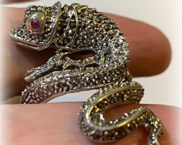 Large Ruby Marcasite Lizard Ring Sterling Silver Size 9 NR