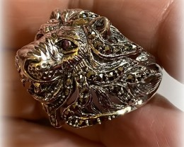 Ruby Marcasite Lion Ring Sterling Silver Size 9