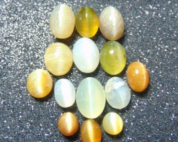 14 pcs 32.05 cts opal cat's eye lots  with mix sizes