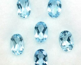 2.32 Cts Natural Nice Blue Aquamarine 6x4mm Oval Cut 6 Pcs Parcel Brazil