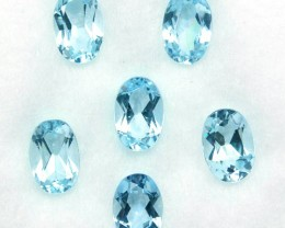 2.59 Cts Natural Nice Blue Aquamarine 6x4mm Oval Cut 6 Pcs Parcel Brazil