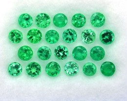 ~PARCEL~ 1.98 Cts Natural AAA Green Emerald 22 Pcs Round Cut Colombia