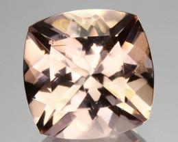 ~EXCELLENT~ 2.87 Cts Natural Peach Pink Morganite Cushion Cut Brazil