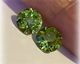 7.00mm JEWELLERY GRADE PERIDOT PAIR WITH INCREDIBLE LUSTER