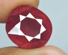 11.55~Cts Ravishing! Big! Oval Facet Top Blood Red Natural Ruby Madagascar~