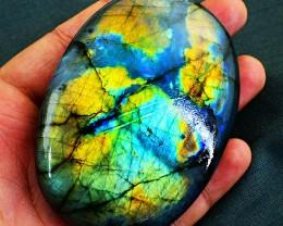 Genuine 895.00 Cts Golden & Blue Flash Labradorite Oval Gemstone