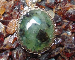 Prehnite jewellery designed pendent silver 72.85 cts