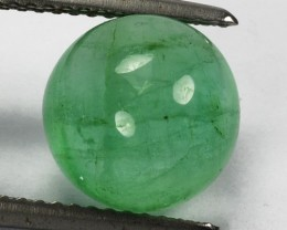 ~CANDY~ 4.01 Cts Natural Green Emerald 14.0 mm Cabochon Colombia