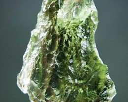 Glossy Moldavite 100% REAL Vibrant green with open bubble