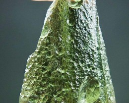 Shiny Moldavite - Drop - natural upper fragment shape with Light green colo
