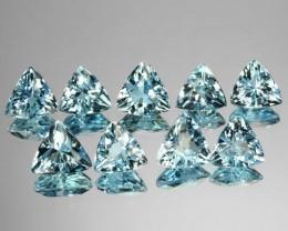 5.34 Cts Natural Nice Blue Aquamarine (6&5.5 mm) Trillion 9 Pcs Brazil