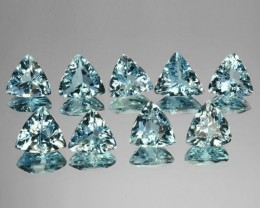 7.62 Cts Natural Nice Blue Aquamarine (6.5&6 mm) Trillion 9 Pcs Brazil