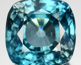 4.81 Cts Natural Sparkling Blue Zircon 9.0 mm Cushion Cut Cambodia