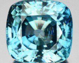 4.66 Cts Natural Sparkling Blue Zircon 9.0 mm Cushion Cut Cambodia