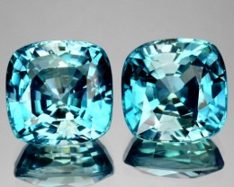 10.94 Cts Natural Sparkling blue Zircon 9.0 mm Cushion 2 Pcs Cambodia