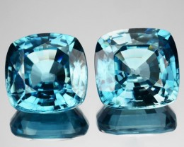 9.33 Cts Natural Sparkling blue Zircon 9.0 mm Cushion 2 Pcs Cambodia