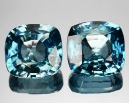 8.84 Cts Natural Sparkling blue Zircon 9.0 mm Cushion 2 Pcs Cambodia