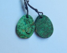 18.5ct Natural green turquoise  Earring Pair(18091229)