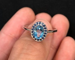 11.4cts Blue Topaz with CZ 925 Sterling Silver Ring US 8.75