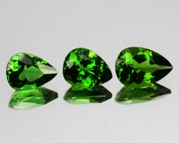 2.22 Cts Natural Chrome Tourmaline Nice Green 3 Pcs Pear Set Mozambique