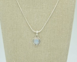 CERTIFIED PENDANT NATURAL UNTREATED RAINBOW MOONSTONE  925 STERLING