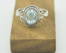 CERTIFIED RING NATURAL UNTREATED BLUE TOPAZ 925 STERLING SILVER JE955