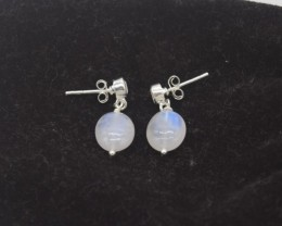 CERTIFIED EARRINGS NATURAL UNTREATED RAINBOW MOONSTONE  925 STERLING SILVER