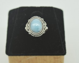 CERTIFIED RING NATURAL UNTREATED LARIMAR 925 STERLING SILVER JE958