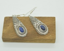 CERTIFIED  EARRINGS NATURAL UNTREATED LAPIS LAZULI 925 STERLING SILVER JE96