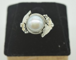CERTIFIED RING NATURAL UNTREATED PEARL 925 STERLING SILVER JE964