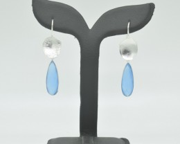 CERTIFIED EARRINGS NATURAL UNTREATED CHALCEDONY 925 STERLING SILVER JE966