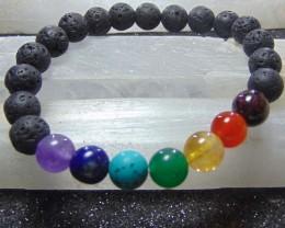 Beautiful  Lava beads cabs Bracelet  90.50 cts