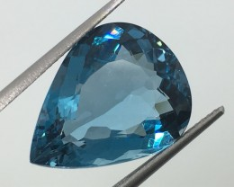 13.15 Carat VVS Topaz London Blue Pear - Spectacular Color and Clarity !